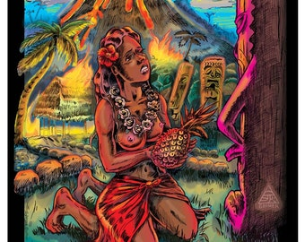 TIKI TIGER STUDIOS 3D three dimensional Tiki Hula girl with erupting volcano poster