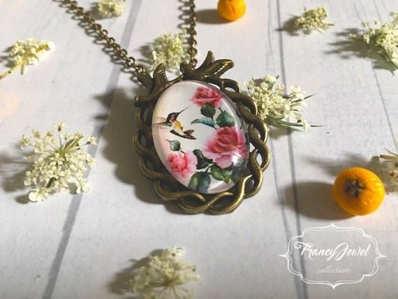 Hummingbird necklace, rose pendant, vintage necklace, pink flowers necklace, antique bronze, romantic necklace, swallow necklace