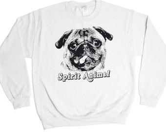 Pug Spirit Animal Sweatshirt - Funny Gift Idea - Mens Womens Oversized - Holiday Sweater Pullover Oversize Shirt Top French Bulldog