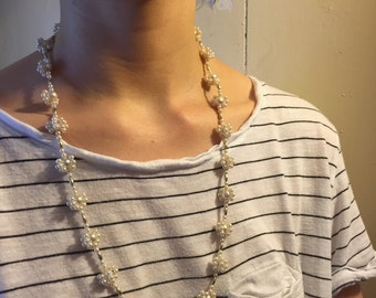 White Beaded Chain Necklace