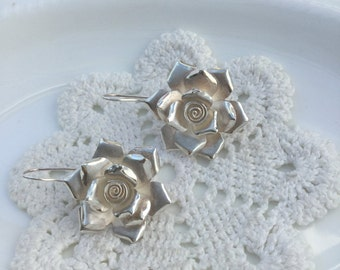 Large stunning peony roses earrings 925 brushed Sterling silver