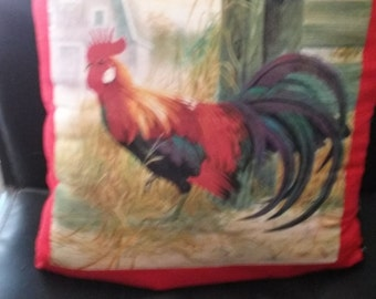 Country Rooster Accent Pillow