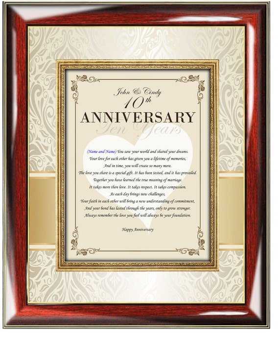 Anniversary Poetry Love Gift Frame Personalized Congratulation Wedding Poem Friend