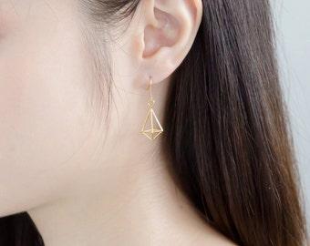 Diamond Earrings (long)/14K Gold plated/Geometric Earrings/3D Printed Jewelry/Sterling Silver