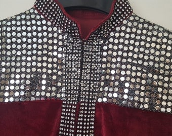 red velvet gown jacket indian/pakistani