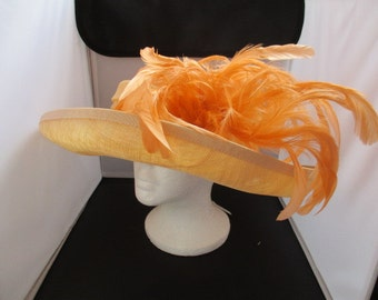 Wedding/ASCOT/BRIDAL/FORMAL,Orange, designed ladies    Very Wide Size-M