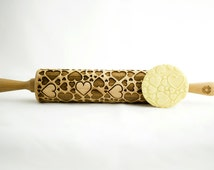 HEARTS rolling pin, embossing rolling pin, engraved rolling pin for a gift, love, valentine's day, gift ideas, gifts, unique, autumn