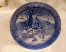 Vintage~Royal Copenhagen~Collectors Plate~1967~KONGEEGEN~The Royal Oak~Kai Lange~Danish~Denmark~Christmas~Jul~Horse~Snow~Souvenir~Gift~