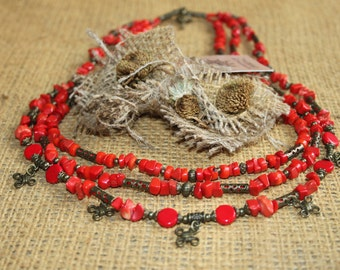 Traditional Ukrainian necklace with pendants crosses Ukrainian coral necklace with crosses Red coral multi strand necklace Zgarda crosses