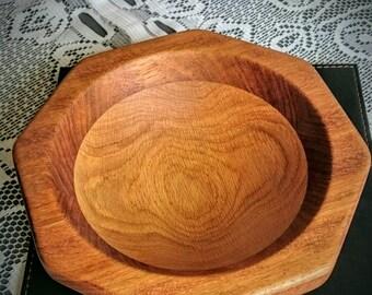 Handmade Octagonal Oak and Iroko Bowl