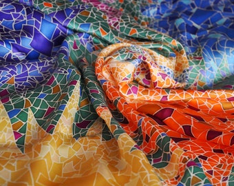 "Silk Scarf Hand Painted Women's Scarves Gifts for Her ""Gaudi"" Mosaic Scarf Colorful Silk Shawl (100% Silk)"