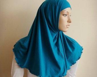 Hijab Two Piece,Al Amira style,  Blue Hijab, Scarf handmade, Cotton hijab, prayer scarf, Muslim, islamic scarf, eid gift ideas, Muslim lady