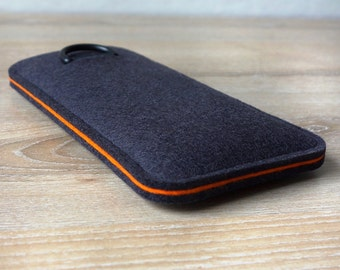 S7 edge ANTHRACITE / ORANGE · Cell phone case for Samsung Galaxy S7 EDGE with pull tab sleeve case made of wool felt