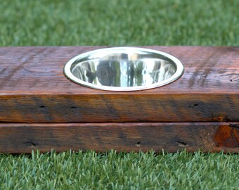 Reclaimed Wood Dog Bowl Stand