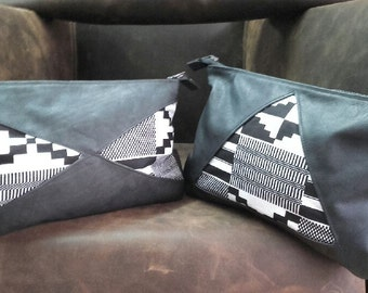 "Pouch ""kente"" printed black and white"