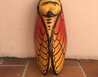 XLSIZE RED vintage French MAJOLICA cicada wall pocket vase moustier handmade