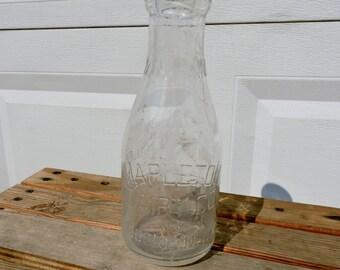 Mapleton Dairy Co. Inc, Brooklyn N.Y., Rare Milk Bottle Vintage Milk Bottle, Dairy Bottle, One Quart Milk Bottle