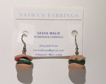 Fun hamburger earrings