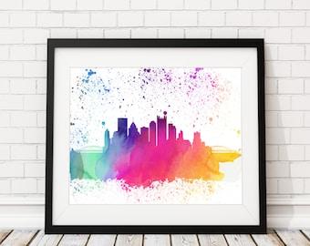 Pittsburgh Skyline Print, Cityscape Print, Pittsburgh Watercolor Art, Pittsburgh Skyline Painting, Watercolor Painting, Pittsburgh Poster