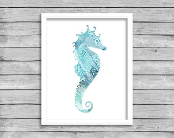 Seahorse Wall Art Print, Printable Nautical Ocean Sea Beach House Decor, Beach Wall Art Print, INSTANT DOWNLOAD Digital Download Art Poster