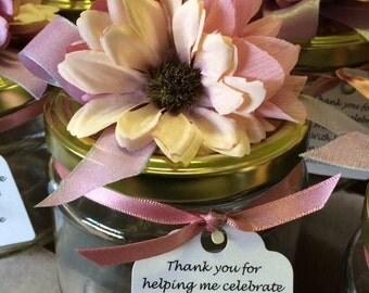 20 x Floral Lid Glass Jar Favours (Peach)