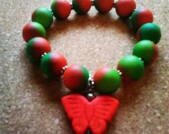 Orange/Green Butterfly Beaded Bracelet