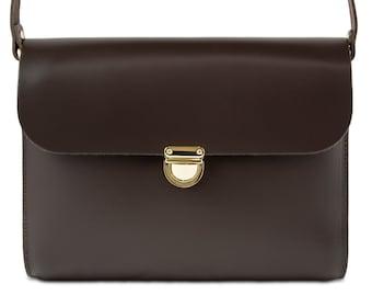 Dark Brown Leather Crossbody/Shoulder Bag made in London