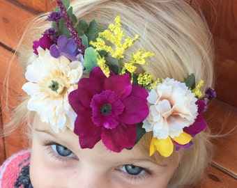 Newborn Flower Headband, Baby Flower Headband, Baby Boho Headband, Newborn Photo Prop, Baby Wedding Headband, Baby Halo Headband