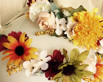 Mommy and Me Fall Flower Crowns, Mommy and Me Headbands, Floral Headpiece, Bohemian Head Wreath, Head Halo, Daisy Flower Crown