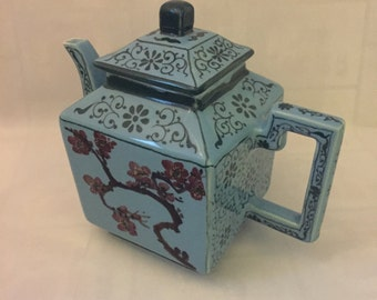 Unique vintage blue square teapot with poppy colored oriental flowers  mid century asian decor kettle