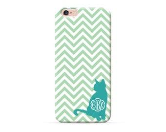 iPhone 7 Case, iPhone 7 plus case, iPhone 6 case, iPhone 6s case, iPhone 6 plus case, Personalized Phone Cases Aqua Cat Chevron Monogram