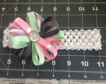 Pastel Loopy Hair Bow with Headband