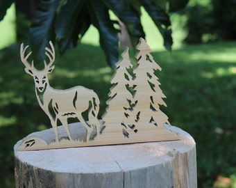 Deer and Pine Trees