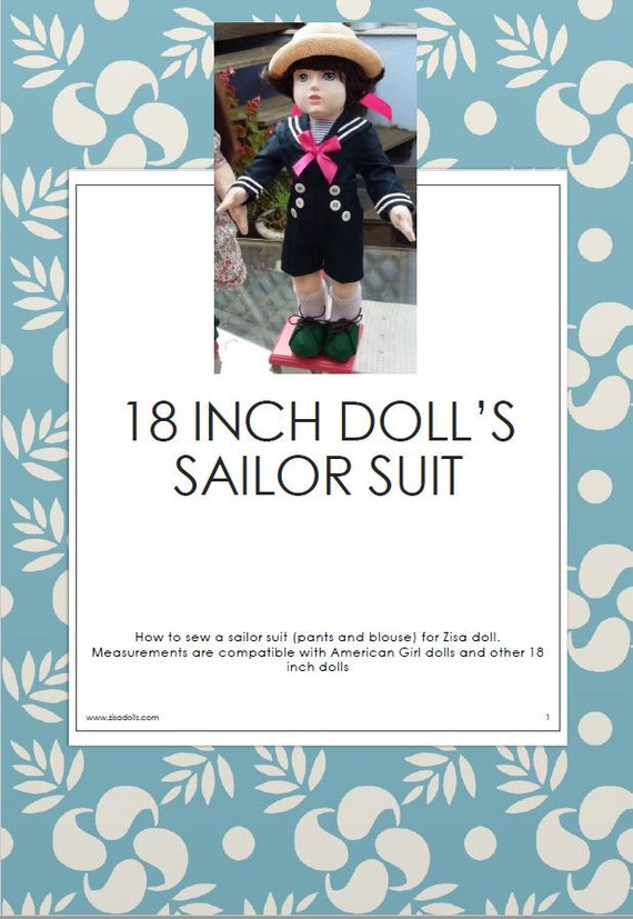 Sailor suit for 18 inch dolls, pattern plus tutorial
