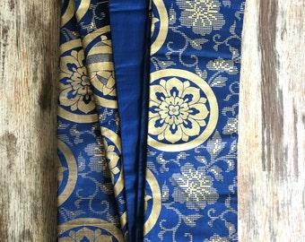 Vintage Japanese Kimono Blue Obi Belt