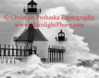 St Joseph, Michigan lighthouse during storm