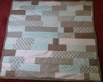 Seafoam ( Blue and Gray) Hand Made Baby/Infant Quilt