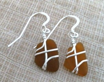 Brown Sea Glass and Sterling Silver Earrings 082814