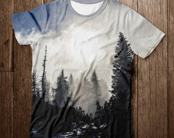 """T-shirt """"Taiga forest"""", T-shirt Painting, Free Shipping, T-shirt printing, T-shirt nature"""