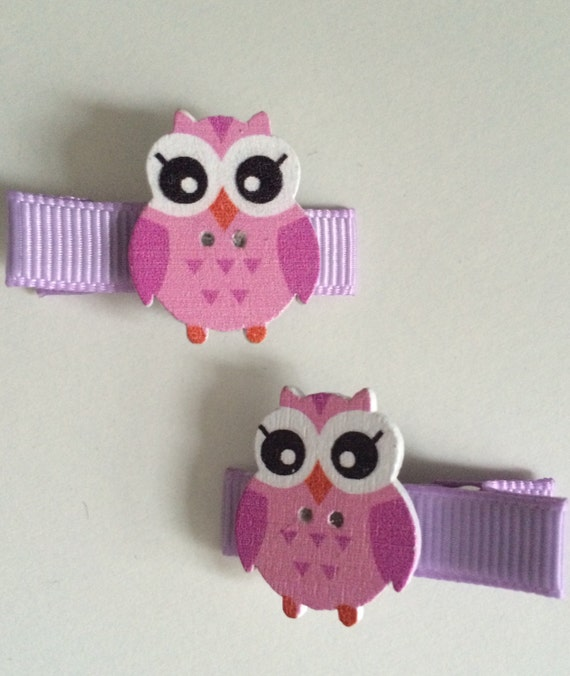 Wooden Owl Hair Slides - Pair of Lilac Ribbon Covered Clips