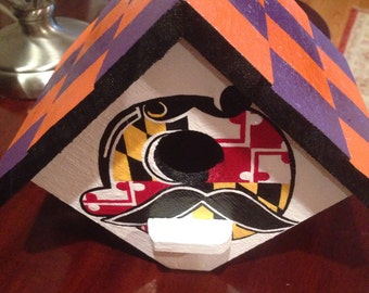 Handpainted MD Flag, Natty Boh, Crab, and Baltimore  Birdhouse