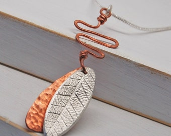 Fine Silver Leaf and Hammered Copper Pendant