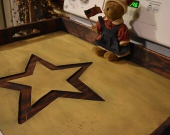 Rustic, Primitive, Stove Top Board, Noodle Board Distressed, Engraved Barn Star
