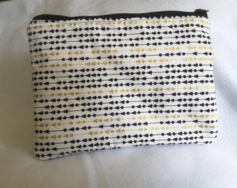 Gold and Black Clutch, zippered gold clutch, Cosmetic bag