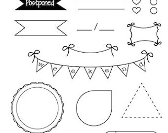 TABS - planner stamps - photopolymer clear stamps - functional - border - icon