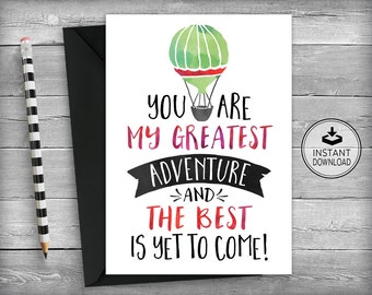 Anniversary Card | Valentines DayCard | Romantic Card | Love Card | I love You Card | Printable Card | Greeting Card - Greatest Adventure