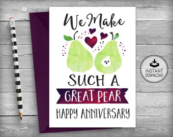 Anniversary Card | Happy Anniversary Card | Love Cards | Romantic Cards | Instant Download | Printable Cards | Greeting Cards - Great Pear