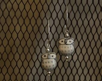 Gray Owl Earrings