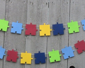 Autism Awareness puzzle piece garland, puzzle pieces garland, puzzle party theme, Autism decorations, Autism birthday party, Puzzle banner