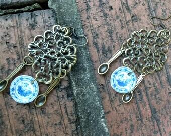 Antique Bronze Earrings, Bronze Chandelier Earrings, Bronze Earrings, Antique Jewelry, Gifts for her